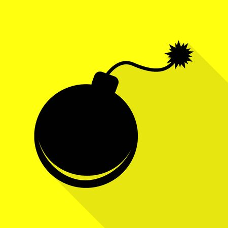 Bomb sign illustration. Black icon with flat style shadow path on yellow background.