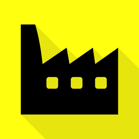 Factory sign illustration. Black icon with flat style shadow path on yellow background.