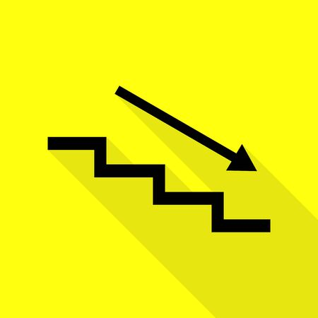 Stair down with arrow. Black icon with flat style shadow path on yellow background. Illustration