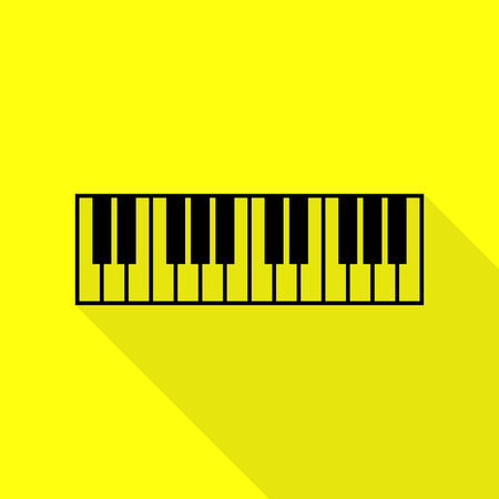 Piano Keyboard sign. Black icon with flat style shadow path on yellow background. Illustration