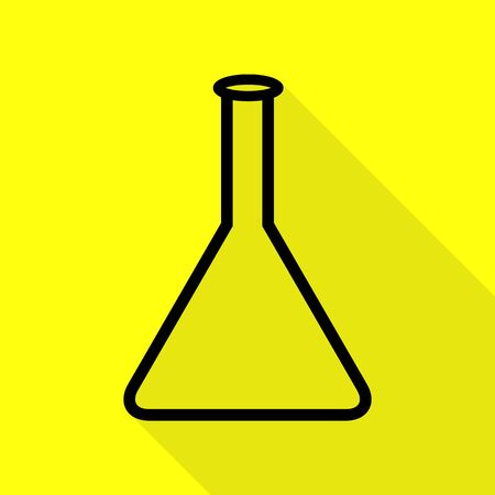 Conical Flask sign. Black icon with flat style shadow path on yellow background.