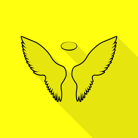 Wings sign illustration. Black icon with flat style shadow path on yellow background. Illustration