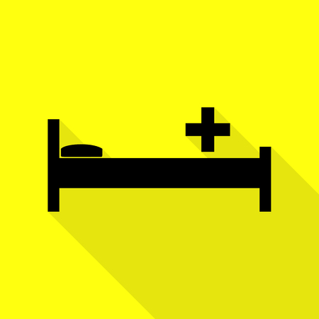Hospital sign illustration. Black icon with flat style shadow path on yellow background.