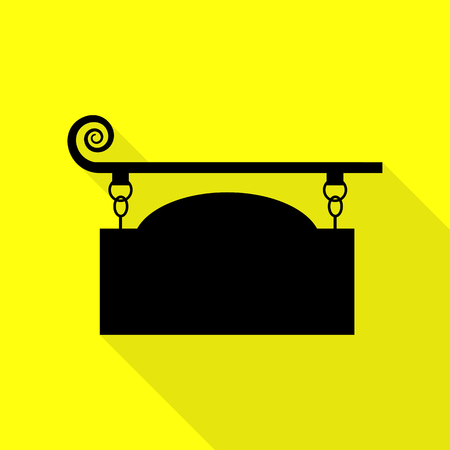 forge: Wrought iron sign for old-fashioned design. Black icon with flat style shadow path on yellow background.