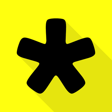 Asterisk star sign. Black icon with flat style shadow path on yellow background. Иллюстрация