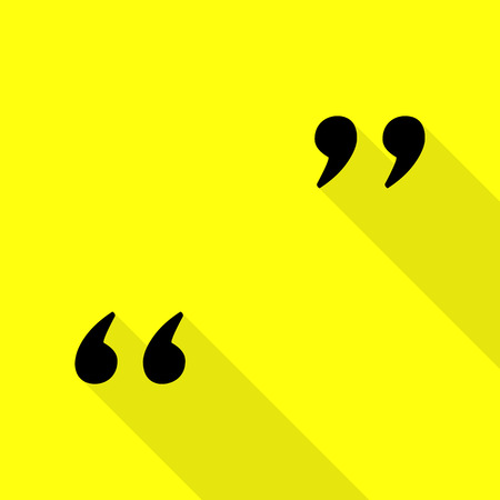 Quote sign illustration. Black icon with flat style shadow path on yellow background.