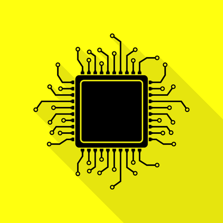 gpu: CPU Microprocessor illustration. Black icon with flat style shadow path on yellow background.