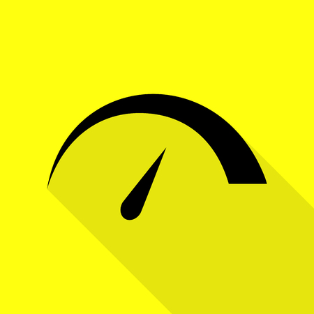 Speedometer sign illustration. Black icon with flat style shadow path on yellow background. Illustration