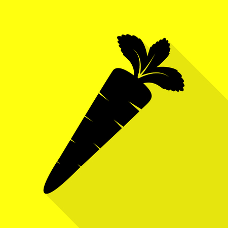 delectable: Carrot sign illustration. Black icon with flat style shadow path on yellow background.