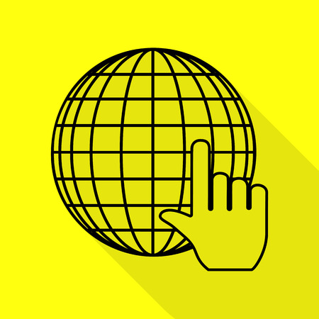 Earth Globe with cursor. Black icon with flat style shadow path on yellow background.