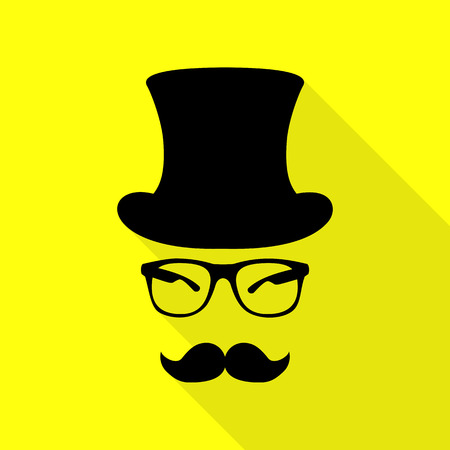 Hipster accessories design. Black icon with flat style shadow path on yellow background.