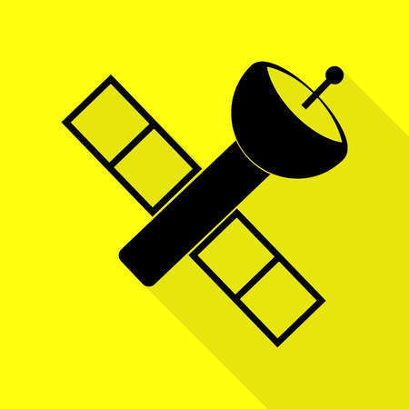tracking: Satellite sign illustration. Black icon with flat style shadow path on yellow background. Illustration