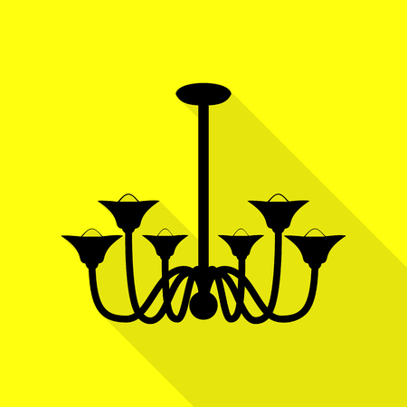 Chandelier simple sign. Black icon with flat style shadow path on yellow background.