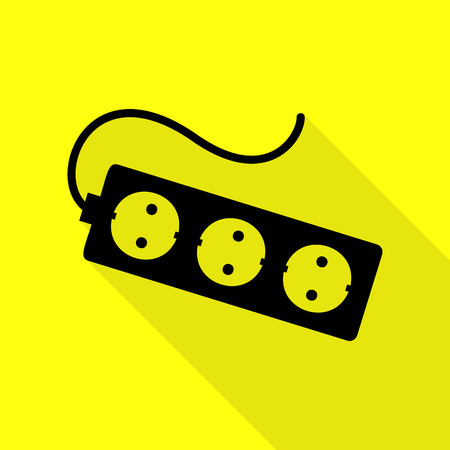 overload: Electric extension plug sign. Black icon with flat style shadow path on yellow background.