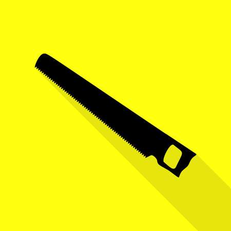 Saw simple sign. Black icon with flat style shadow path on yellow background.