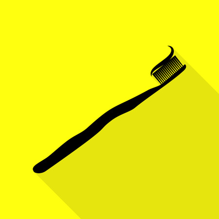 Toothbrush with applied toothpaste portion. Black icon with flat style shadow path on yellow background. Illustration