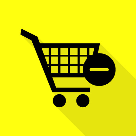 Vector Shopping Cart with Remove sign. Black icon with flat style shadow path on yellow background.