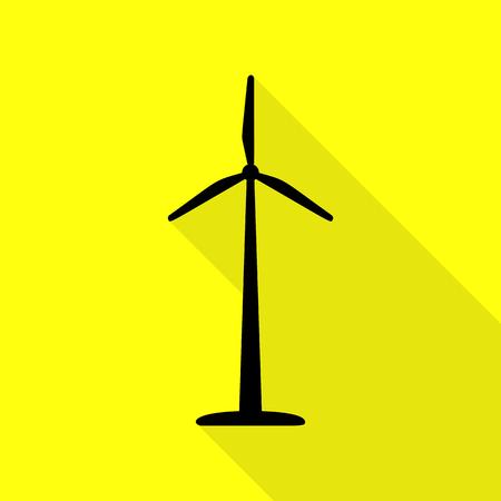 Logo ou panneau de turbine éolienne. Icône noire avec un chemin d'ombre plat sur fond jaune. Logo