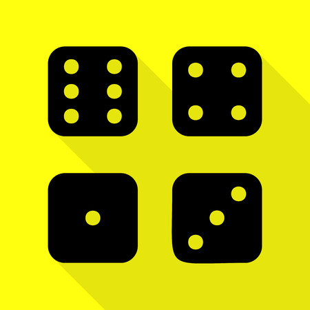 wagers: Devils bones, Ivories sign. Black icon with flat style shadow path on yellow background.