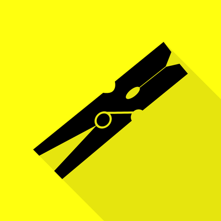 Clothes peg sign. Black icon with flat style shadow path on yellow background. Illustration