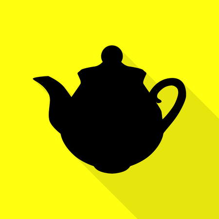 boiler: Tea maker sign. Black icon with flat style shadow path on yellow background.