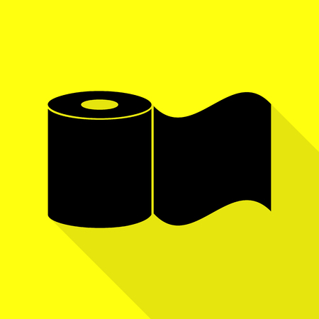 fecal: Toilet Paper sign. Black icon with flat style shadow path on yellow background. Illustration