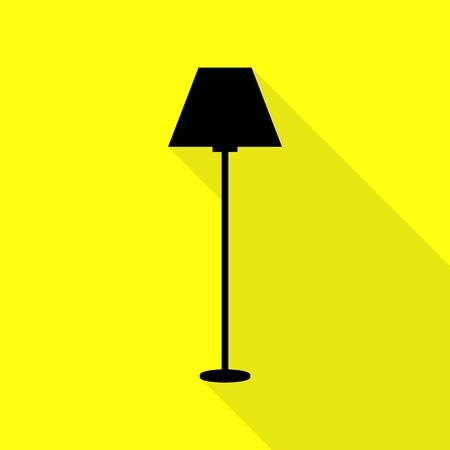 Lamp simple sign. Black icon with flat style shadow path on yellow background.