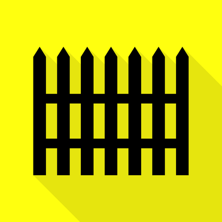 Fence simple sign. Black icon with flat style shadow path on yellow background. Illustration