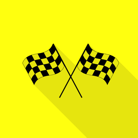 Crossed checkered flags  waving in the wind conceptual of motor sport. Black icon with flat style shadow path on yellow background.