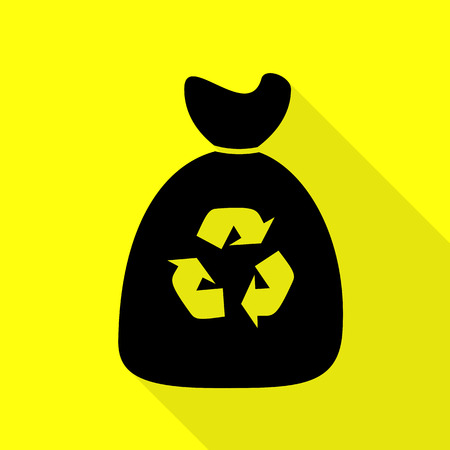 Trash bag icon. Black icon with flat style shadow path on yellow background.