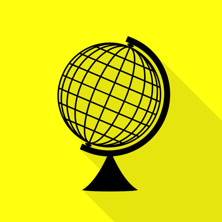 Earth Globe sign. Black icon with flat style shadow path on yellow background.