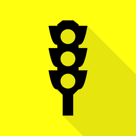 stop and go light: Traffic light sign. Black icon with flat style shadow path on yellow background.
