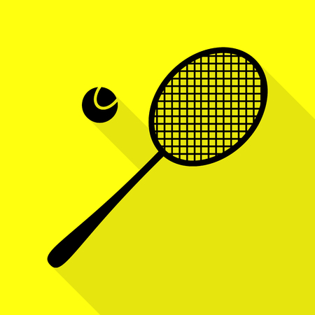 Tennis racquet sign. Black icon with flat style shadow path on yellow background.