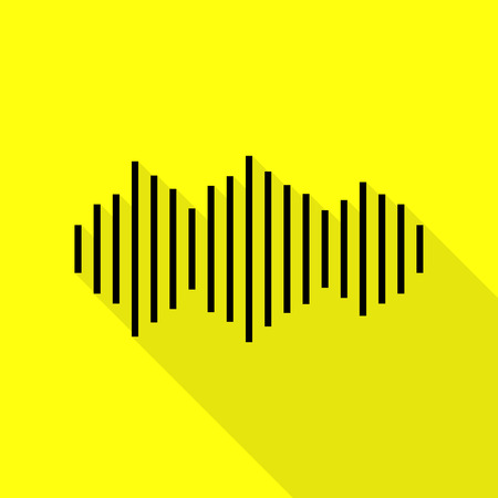 Sound waves icon. Black icon with flat style shadow path on yellow background.