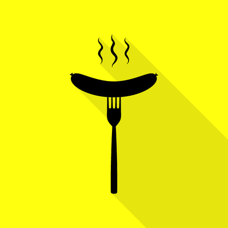 Sausage on fork sign. Black icon with flat style shadow path on yellow background.