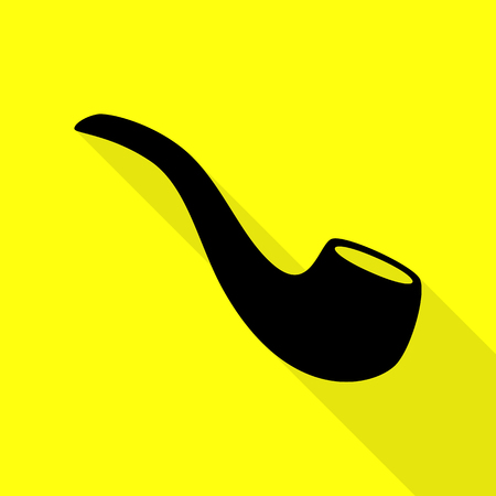 Smoke pipe sign. Black icon with flat style shadow path on yellow background. Illustration
