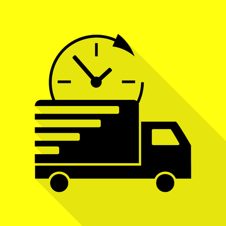 semitruck: Delivery sign illustration. Black icon with flat style shadow path on yellow background.