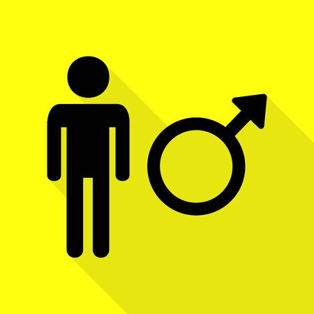 andropause: Male sign illustration. Black icon with flat style shadow path on yellow background.