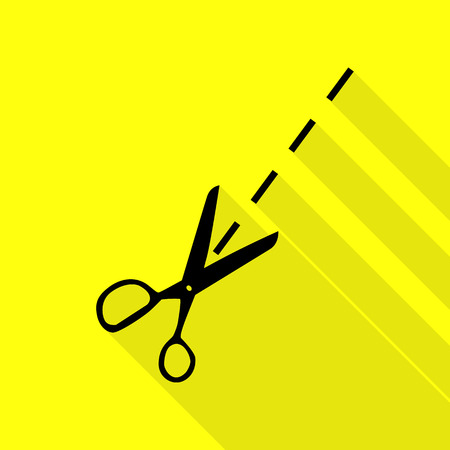Scissors sign illustration. Black icon with flat style shadow path on yellow background.