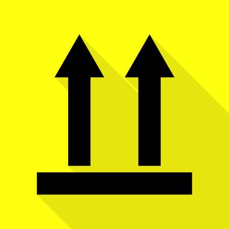 Logistic sign of arrows. Black icon with flat style shadow path on yellow background. Illustration