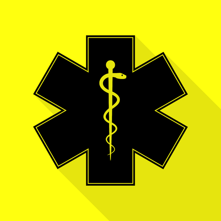 Medical symbol of the Emergency or Star of Life. Black icon with flat style shadow path on yellow background. Illustration