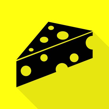 cheez: Cheese Maasdam sign. Black icon with flat style shadow path on yellow background.