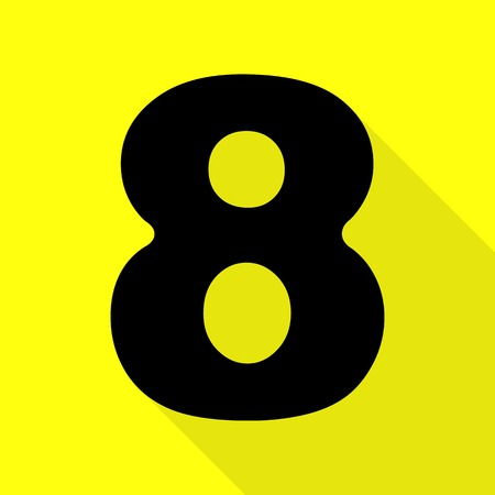 Number 8 sign design template element. Black icon with flat style shadow path on yellow background.