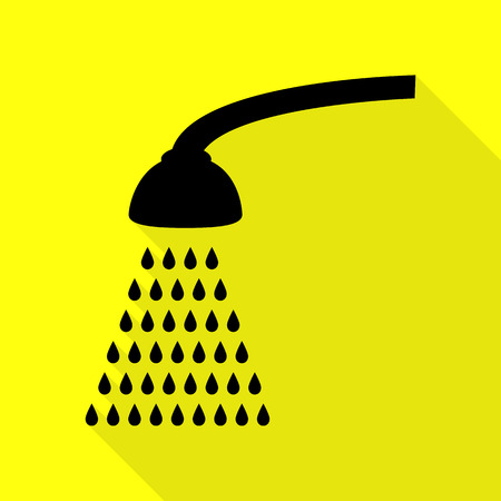 Shower simple sign. Black icon with flat style shadow path on yellow background.