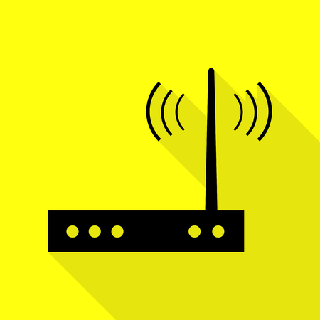 Wifi modem sign. Black icon with flat style shadow path on yellow background. Illustration