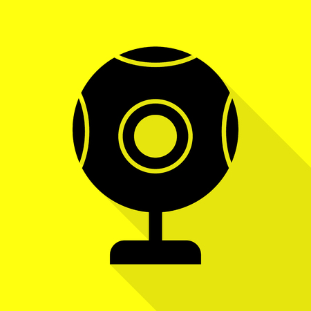 len: Chat web camera sign. Black icon with flat style shadow path on yellow background.