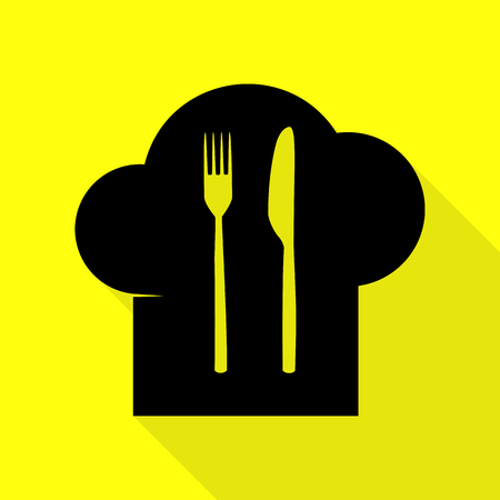 Chef hat and spoon, fork, knife sign. Black icon with flat style shadow path on yellow background. Illustration