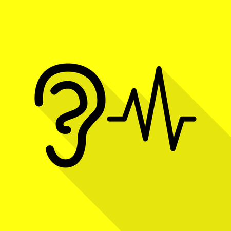 audible: Ear hearing sound sign. Black icon with flat style shadow path on yellow background.