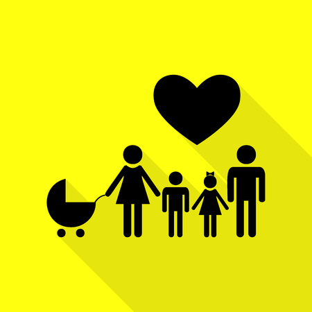 Family sign with heart. Husband and wife are kept childrens hands. Black icon with flat style shadow path on yellow background.