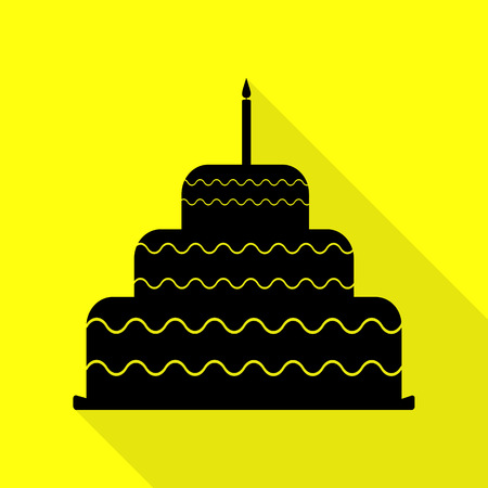 Cake with candle sign. Black icon with flat style shadow path on yellow background.